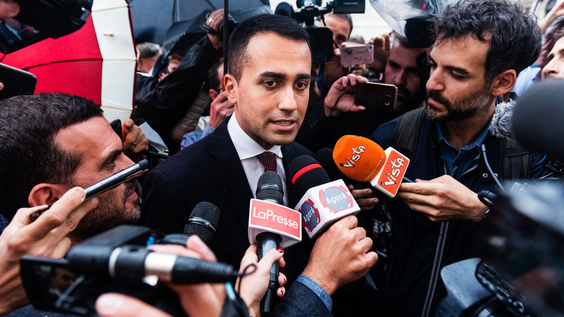 Five Star Movement leader Luigi Di Maio talks with the press after speaking with Presdent Matarella