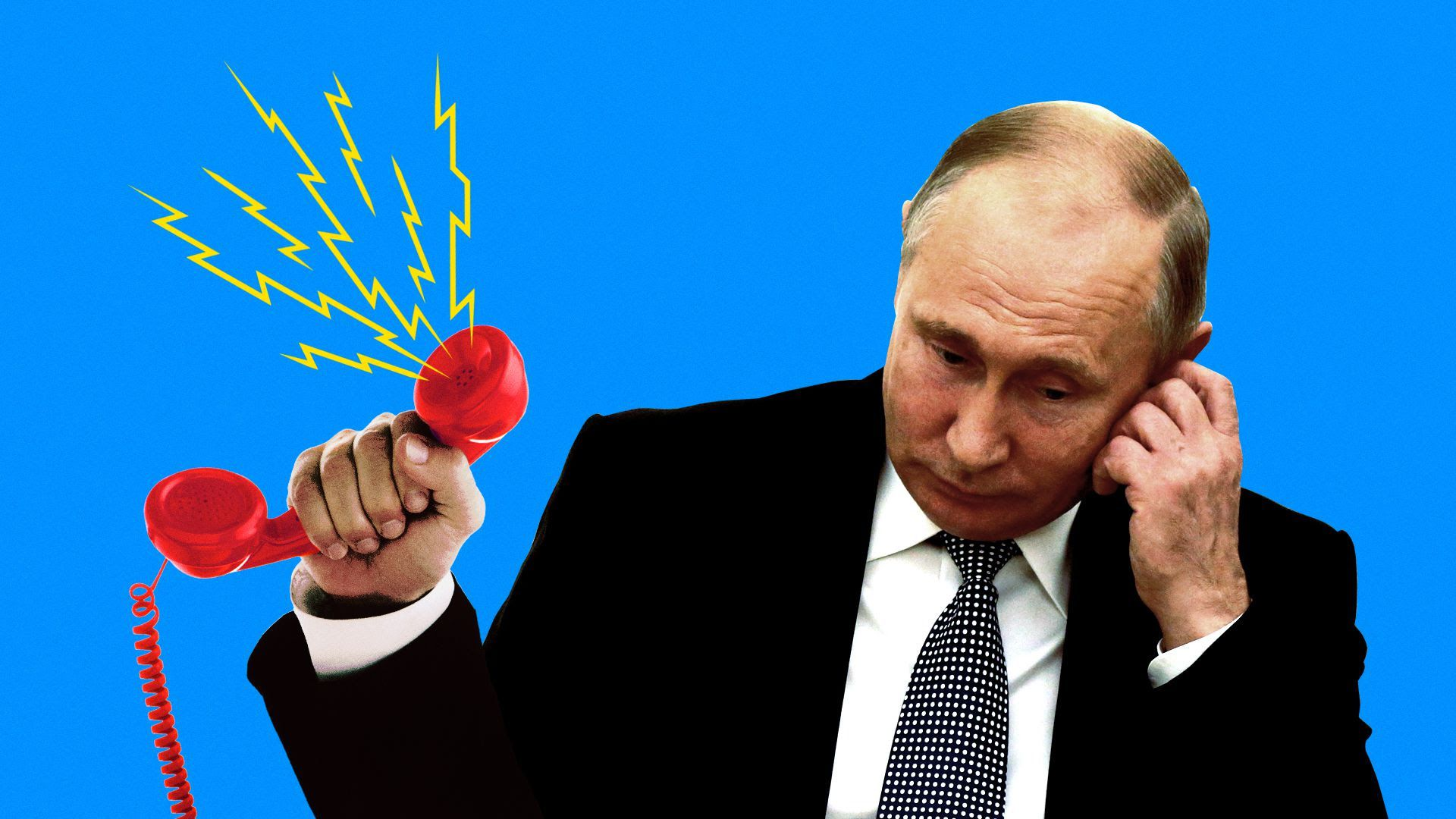 Russian President Vladimir Putin holding a red phone with noise coming out of it