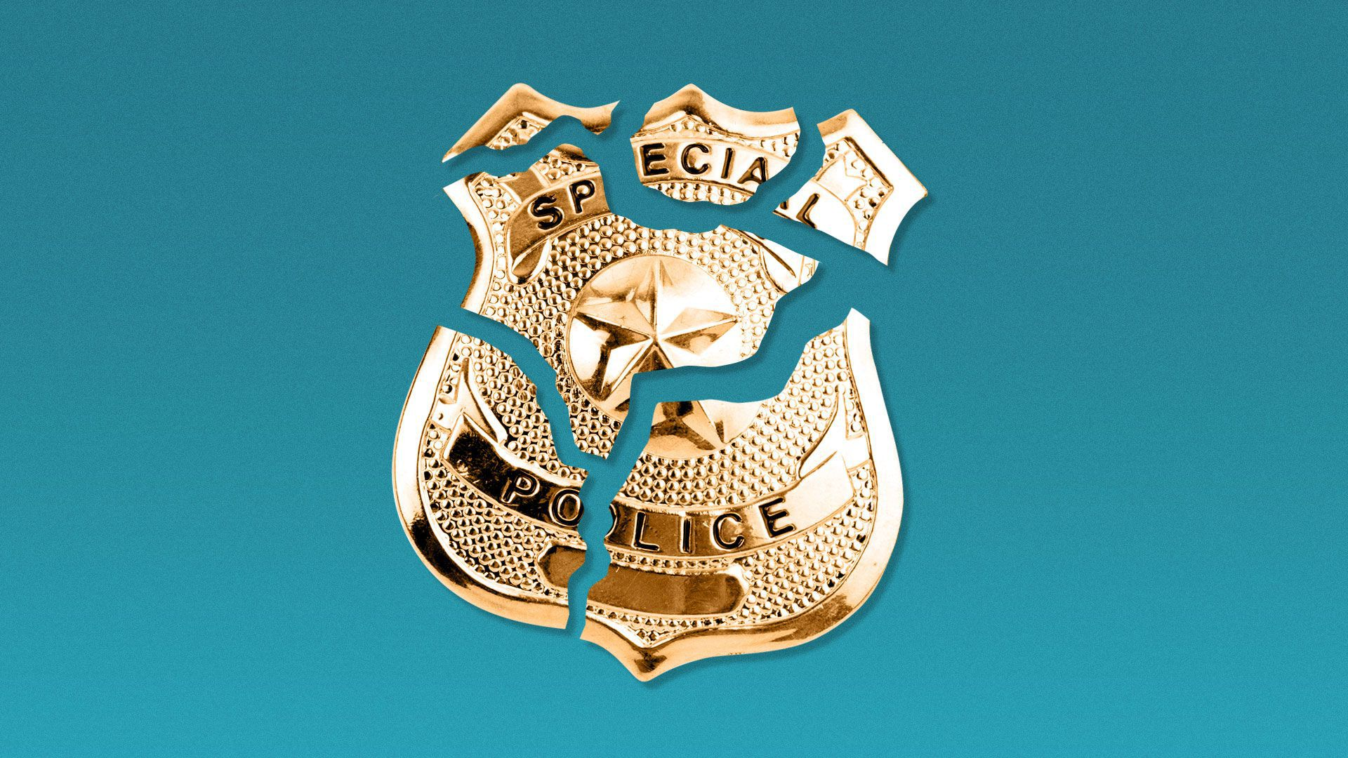 Illustration of cracked and broken police badge