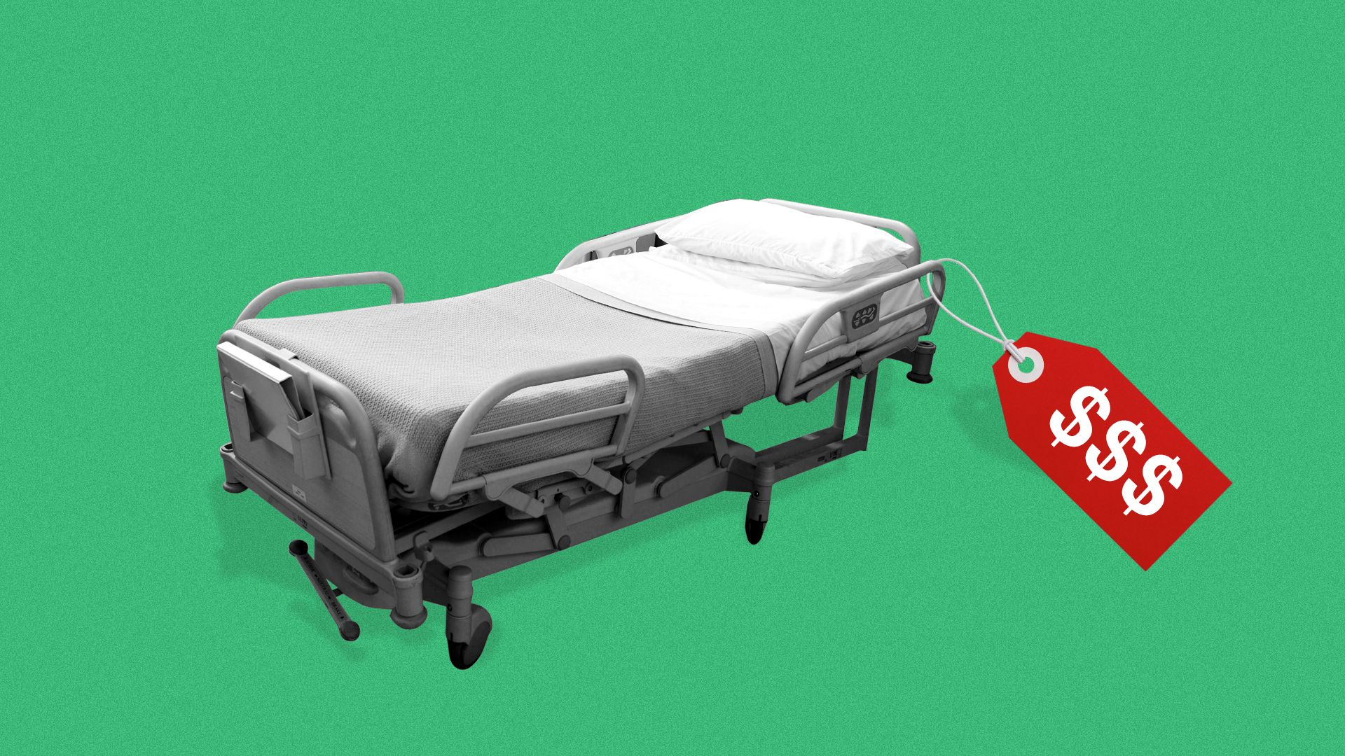 Illustration of a hospital bed with a price tag.
