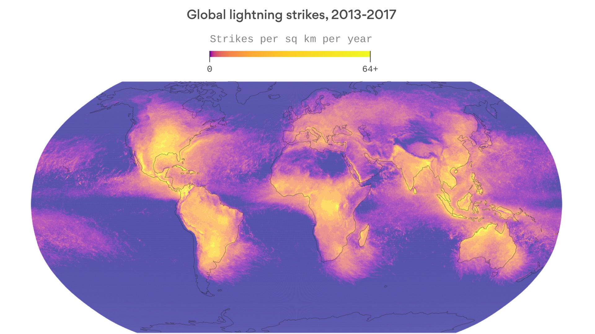 this rotating map shows nearly 9 billion lightning bolts axios
