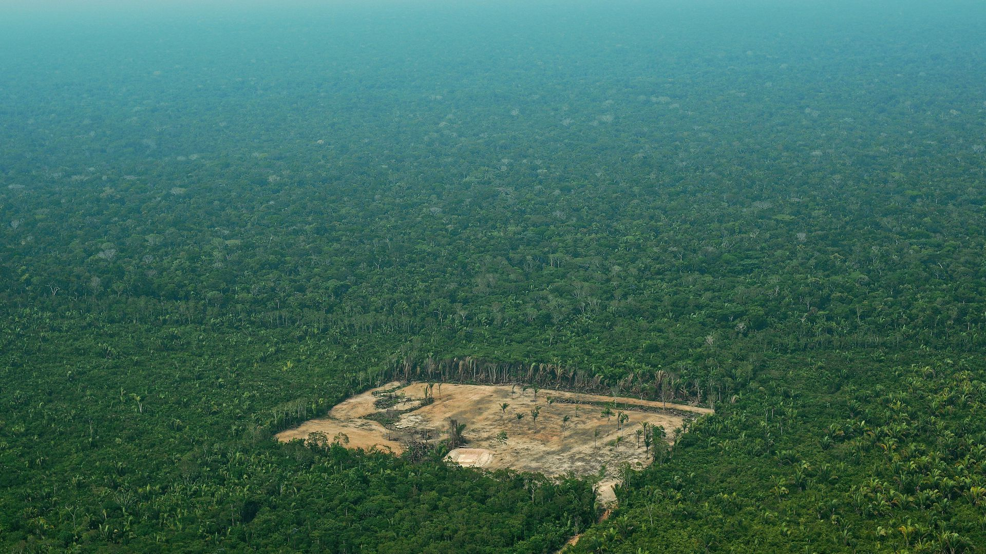Aerial view of deforestation in the Western Amazon region of Brazil in September 2017.