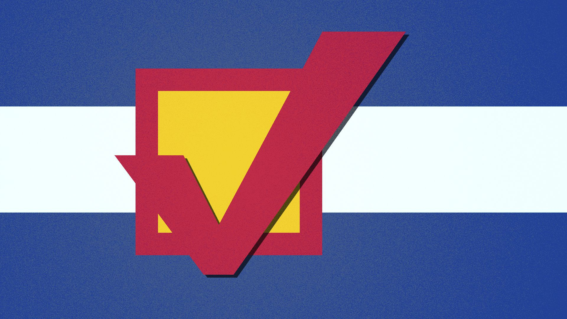Illustration of the Colorado flag with a checkmark and box instead of a C and the sun.