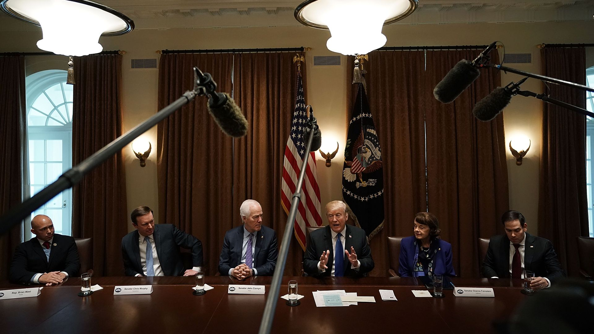President Trump meets with bipartisan members of Congress.
