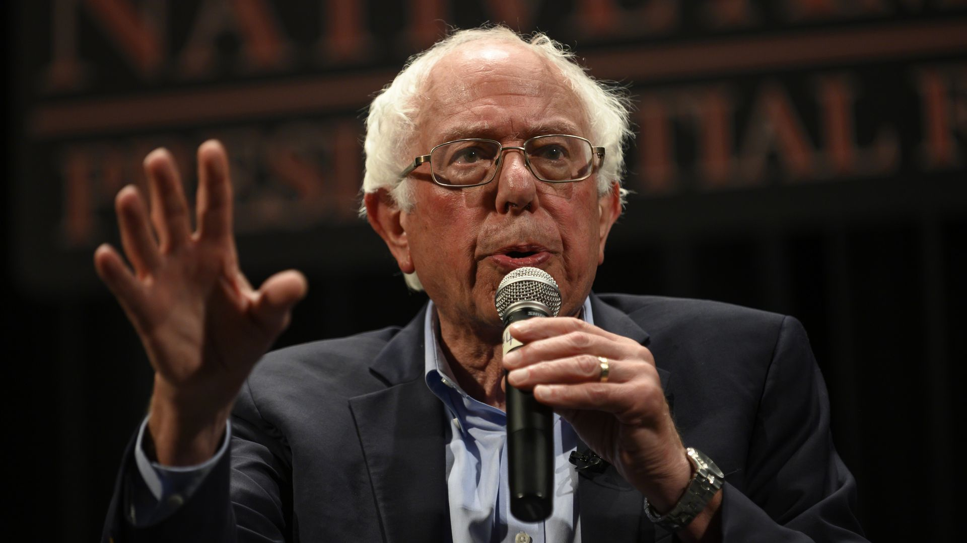 Democratic presidential candidate Sen. Bernie Sanders (I-VT) speaks at the Frank LaMere Native American Presidential Forum on August 20, 2019 in Sioux City, Iowa.