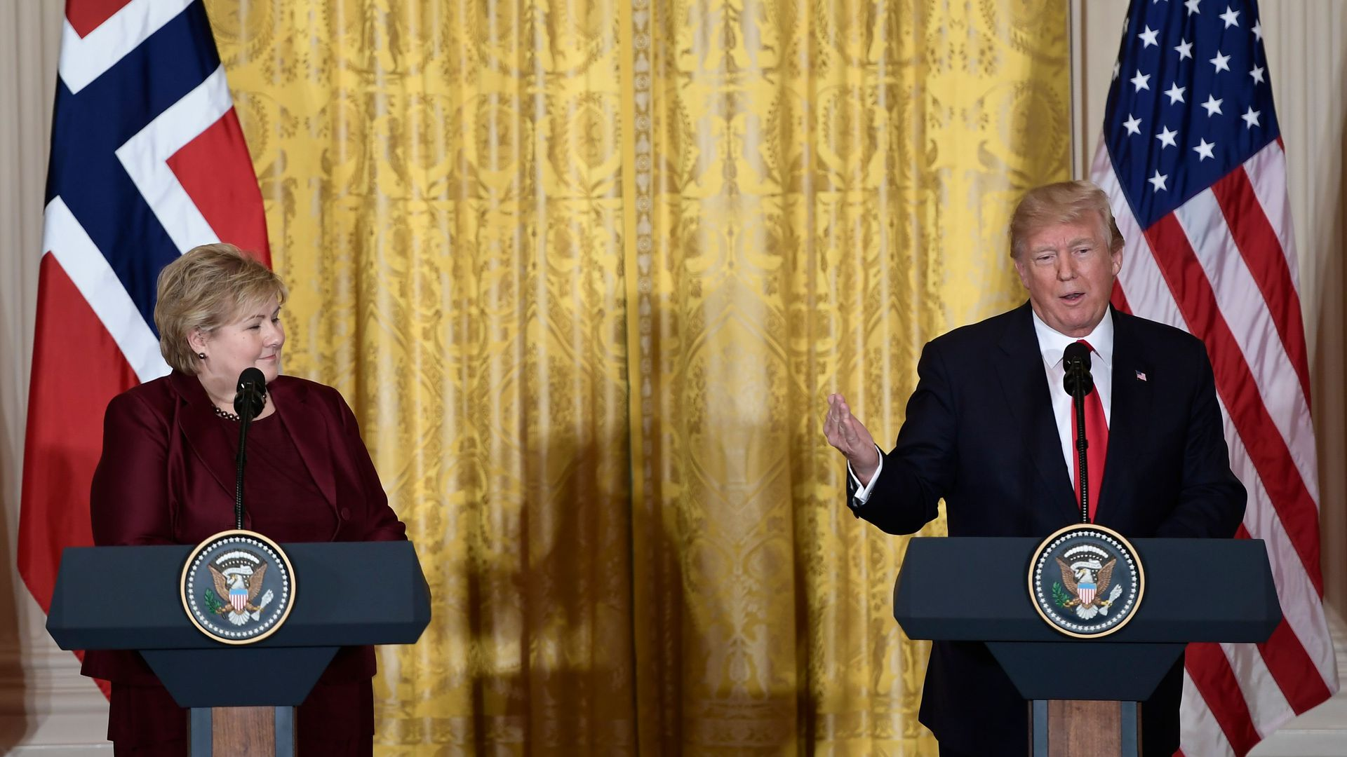 Trump and Erna Solberg