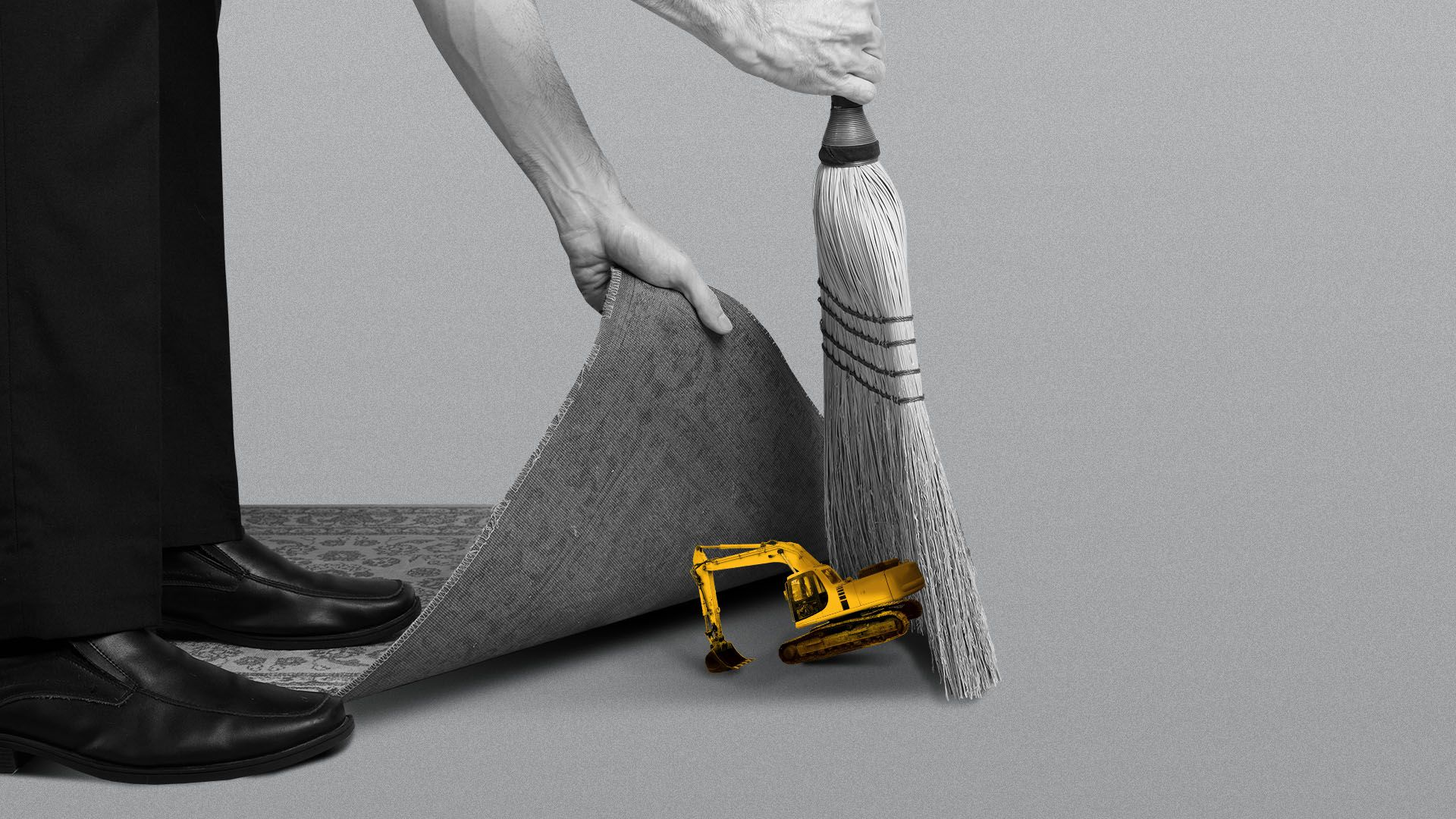 Illustration of a piece of construction equipment being swept under a rug