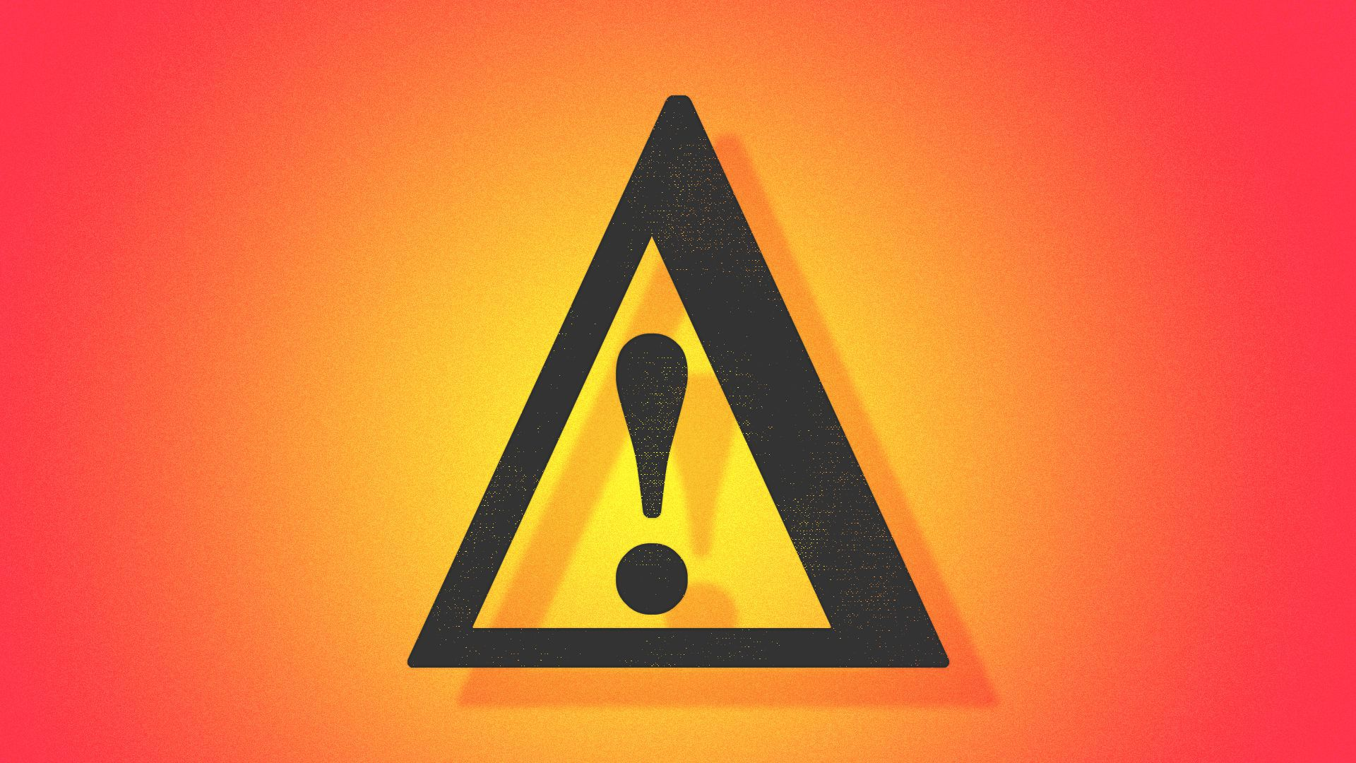 Illustration of a warning sign made of the letter delta and an exclamation point inside it.