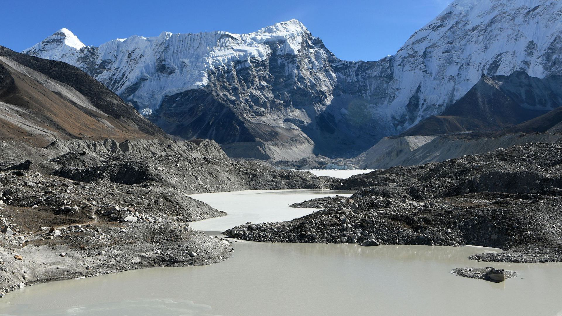 The Imja glacial lake controlled exit channel in the Everest region of the Solukhumbu district, northeast of Kathmandu.