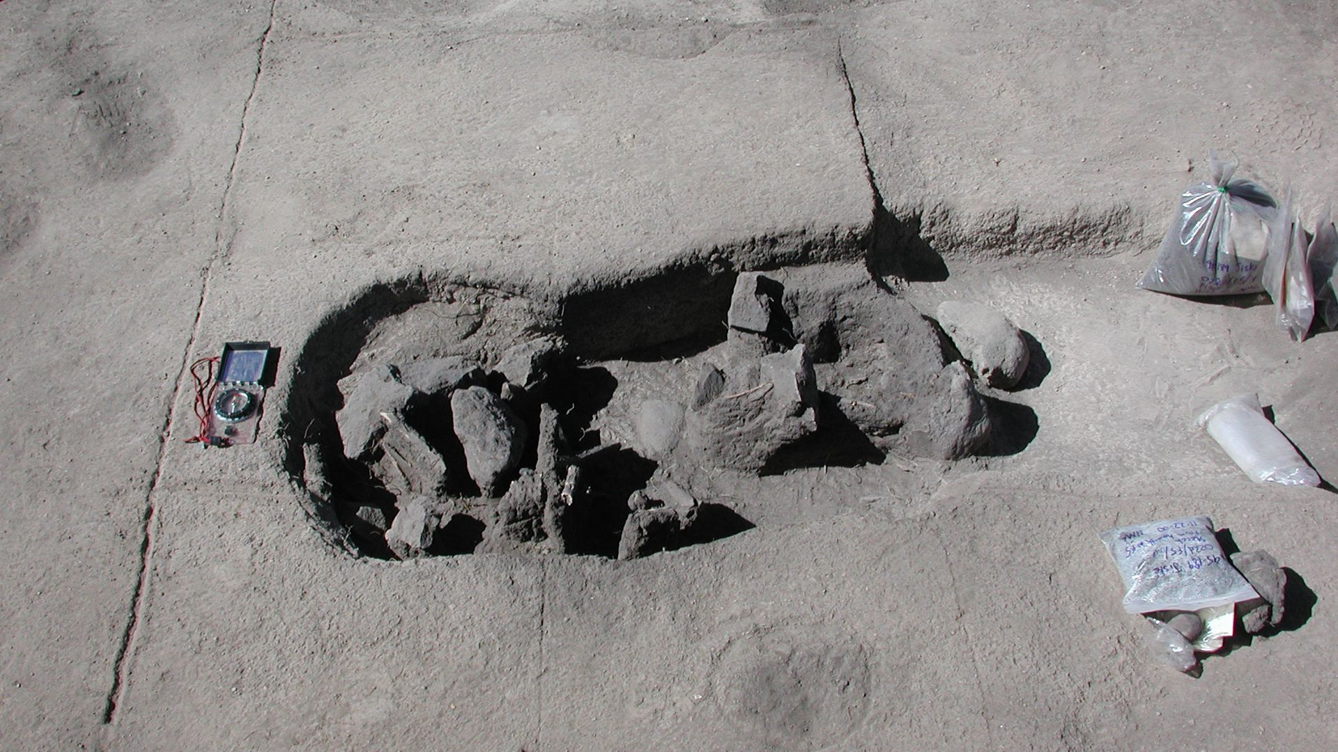 Pre-Columbian archaeolgical burial site at Jiskairumoko, southeast of Puno, Peru.