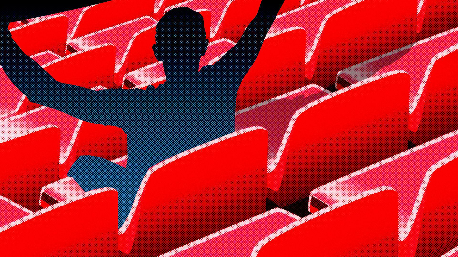Illustration of an empty stadium filled only by the silhouette of an absent spectator