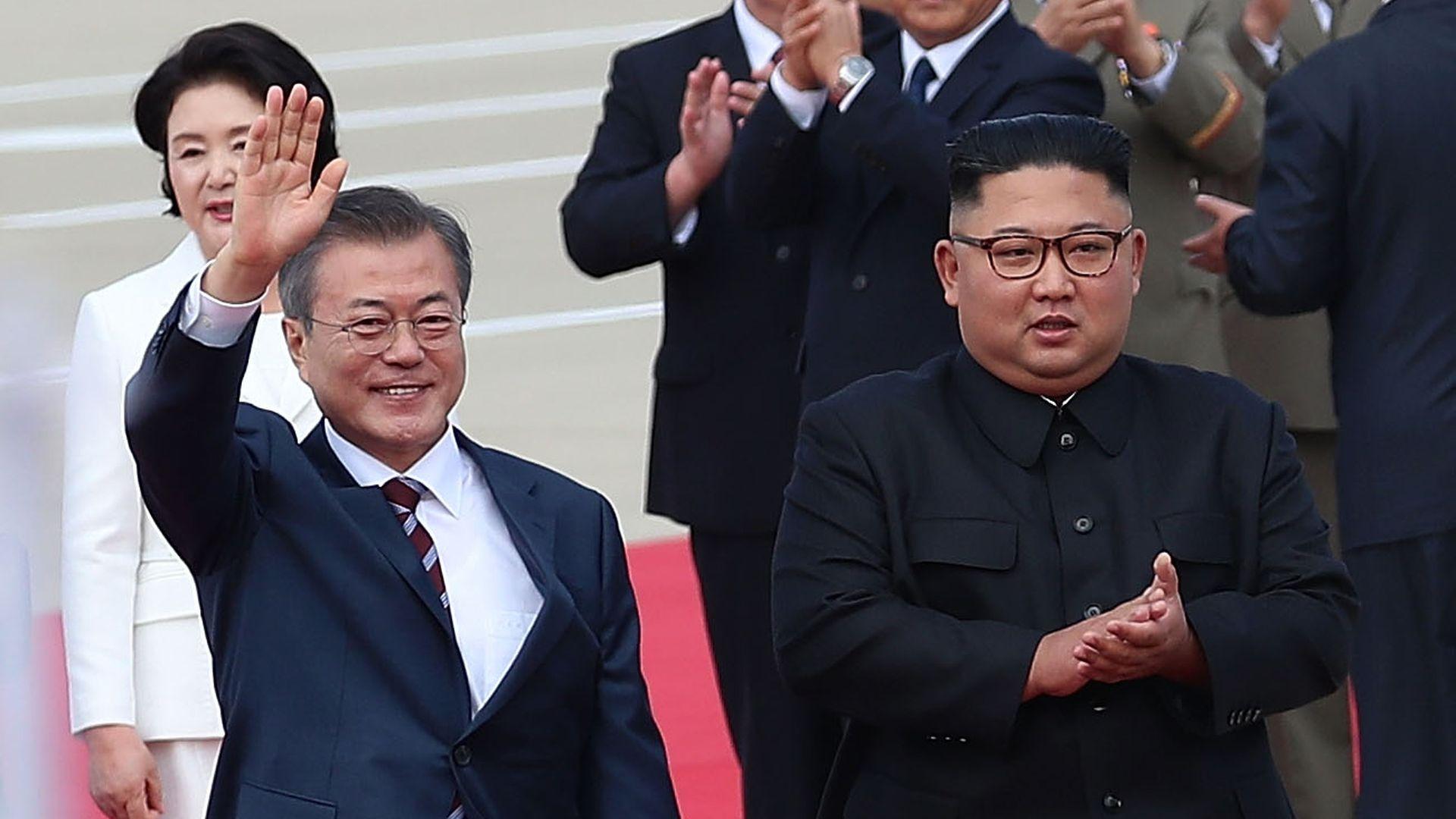 North Korean Leader Kim Jong Un meets with South Korean President Moon Jae-in for the Inter-Korean Summit at Pyongyang Sunan International Airport on September 18, 2018.