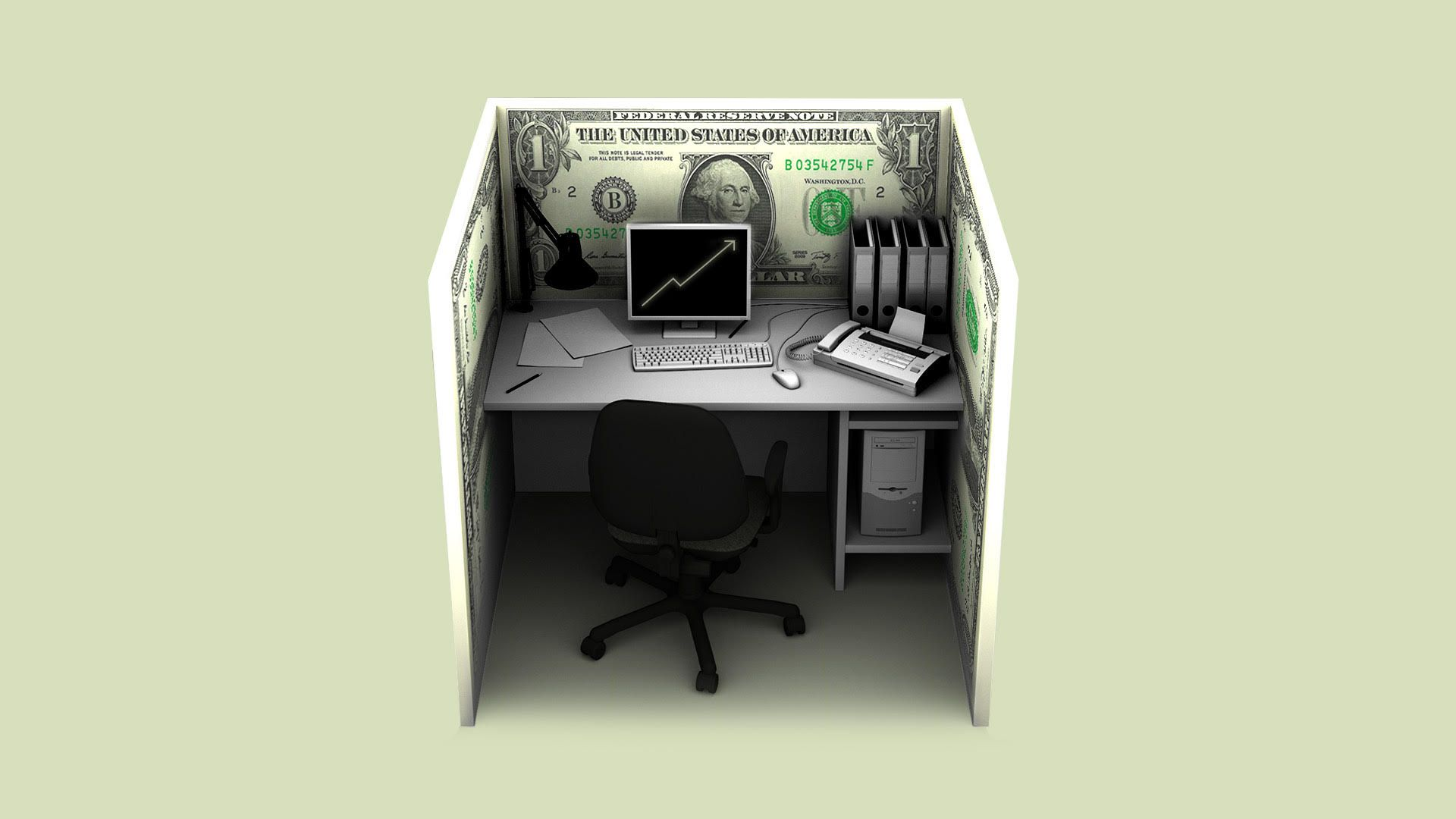 Illustration of  a cubicle made of money.