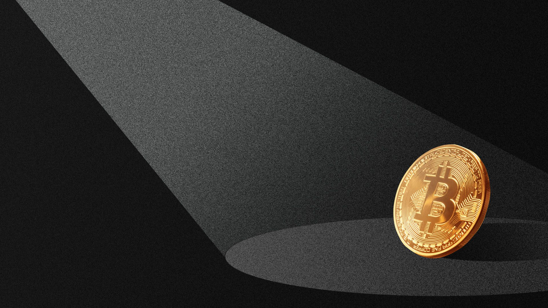Illustration of a light shining on a bitcoin in the dark.