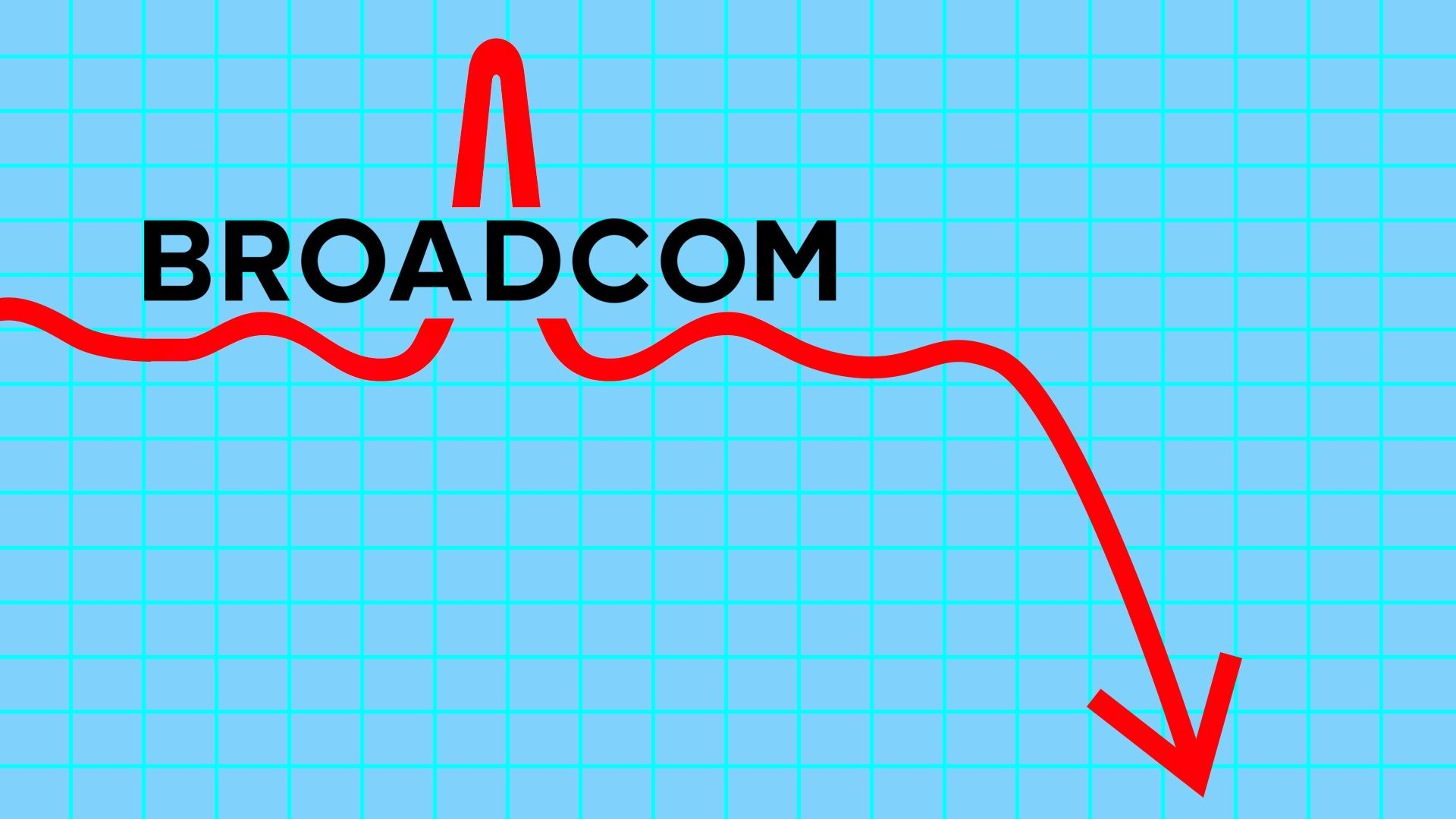 An illustration of Broadcom's logo with an arrow going down, a reference to its stock drop