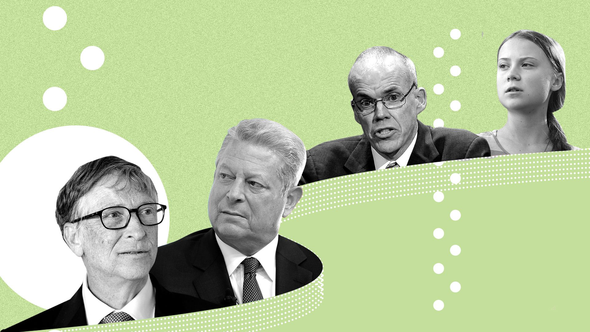 Photo illustration of Bill Gates, Al Gore, Bill McKibben and Greta Thunberg.