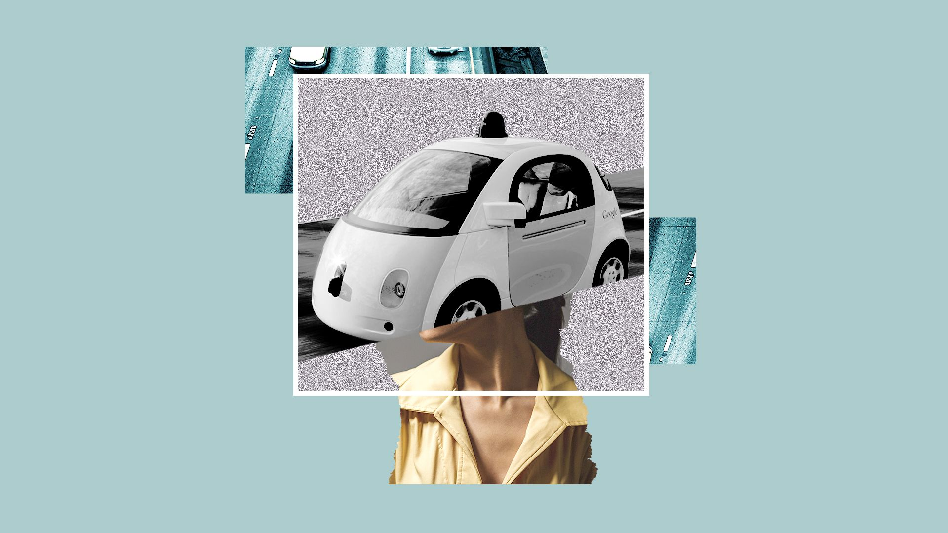 A person with a self-driving car for a head