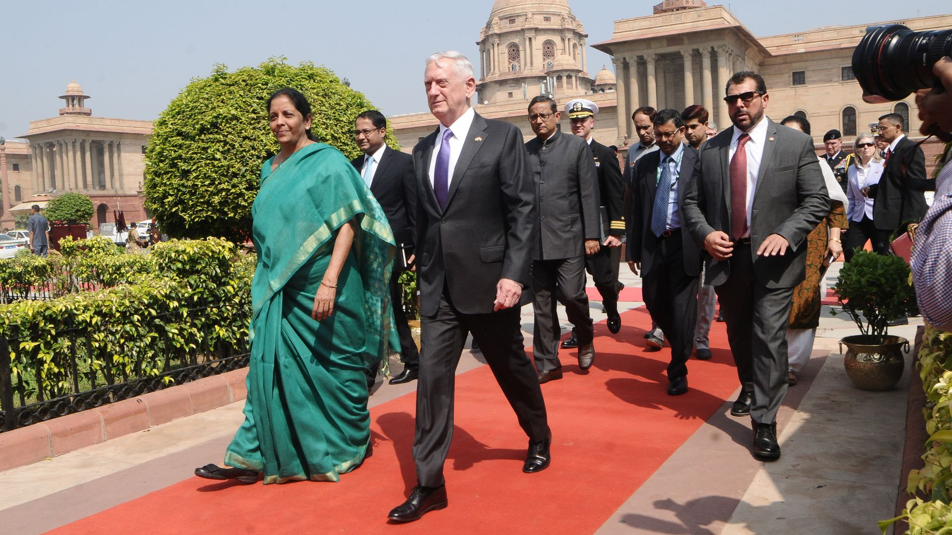 Defence Minister of India, Nirmala Sitharaman (L) welcomes US Secretary of Defence James Mattis  upon his arrival at the Indian Ministry of Defence in New Delhi, India on September 26, 2017.