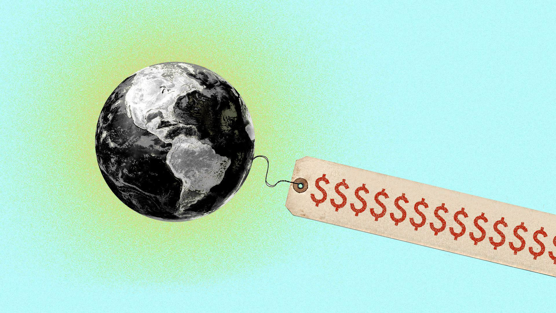 In this illustration, a large price tag dangles from a black and white still image of the earth.