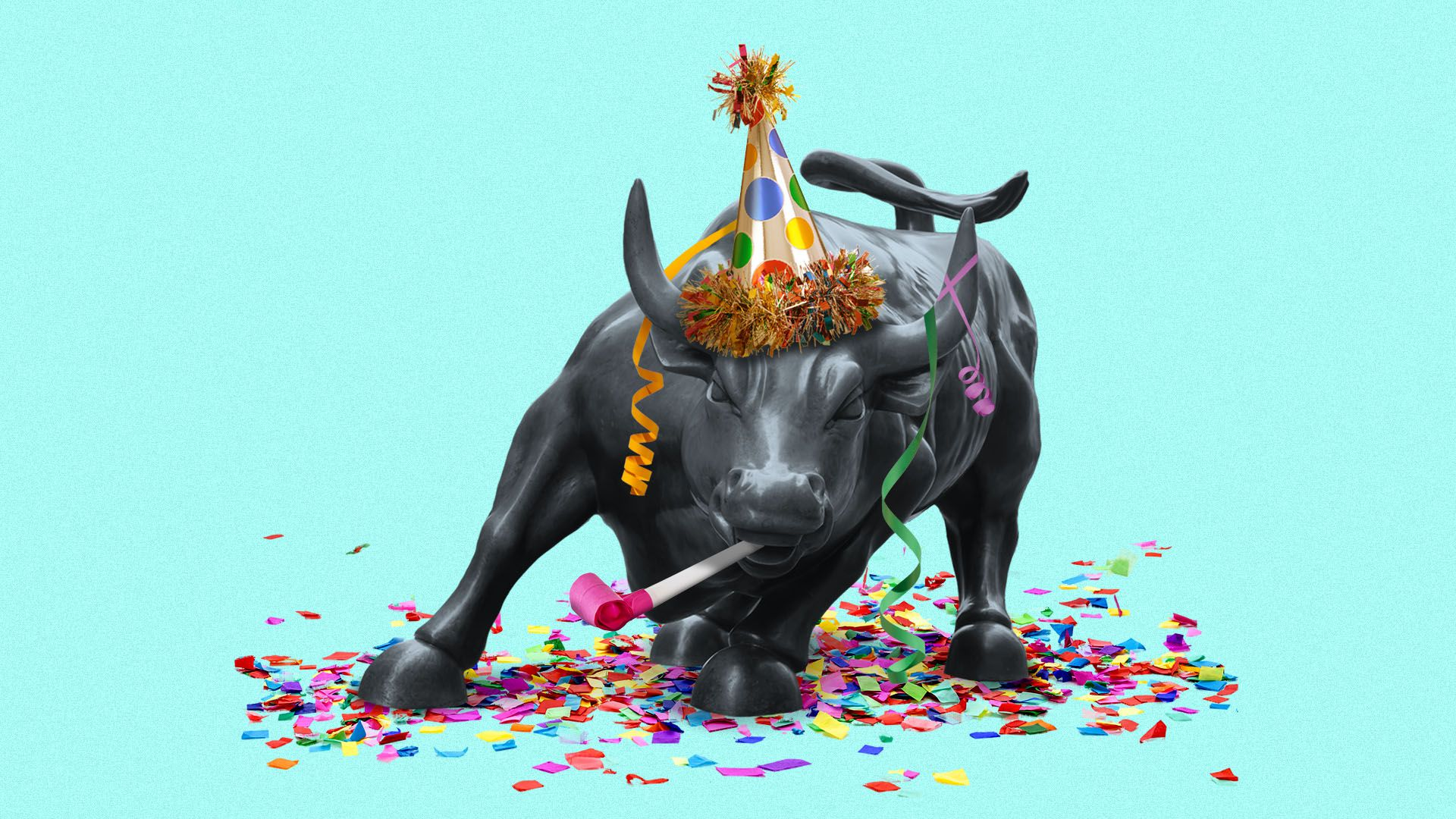 Illustration of the Wall Street bull wearing a party hat and covered in streamers and confetti.