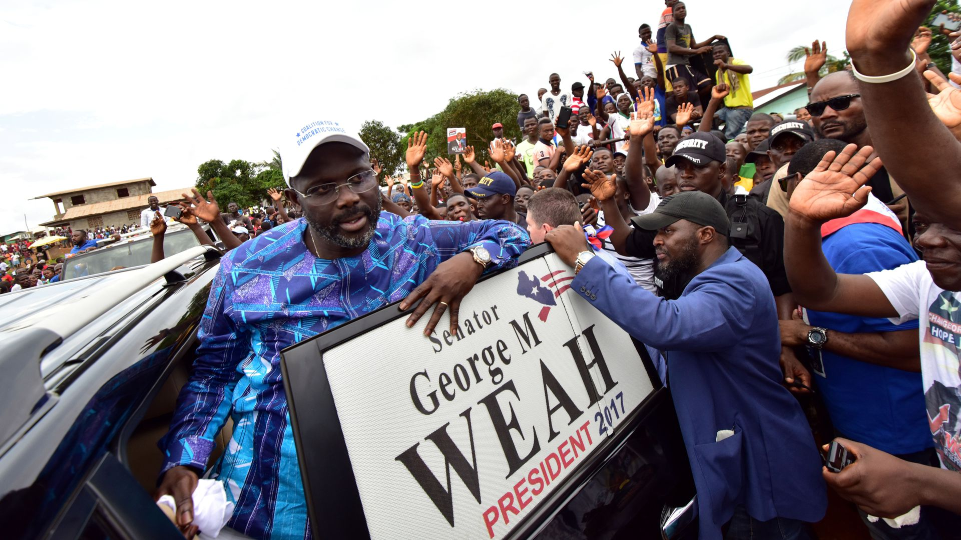 George Weah on the campaign trail