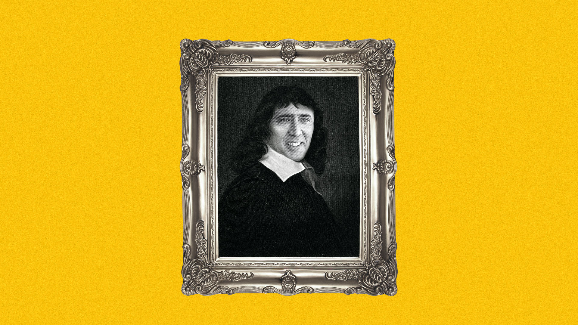 Illustration of René Descartes with Nicholas Cage's face in an ornate frame.
