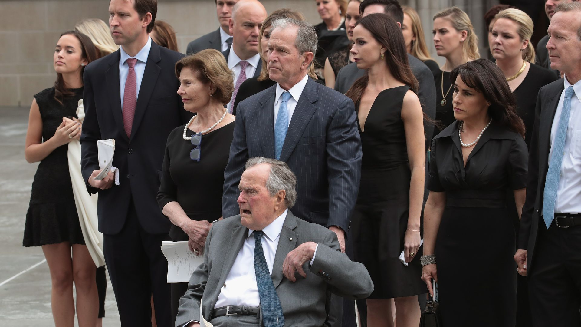 The Bush family together at the funeral
