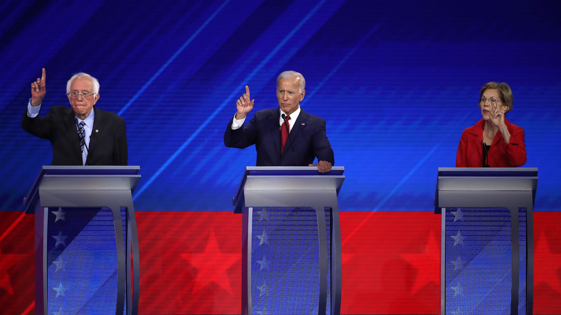 Bernie Sanders, Joe Biden and Elizabeth Warren, at the last Democratic presidential debate