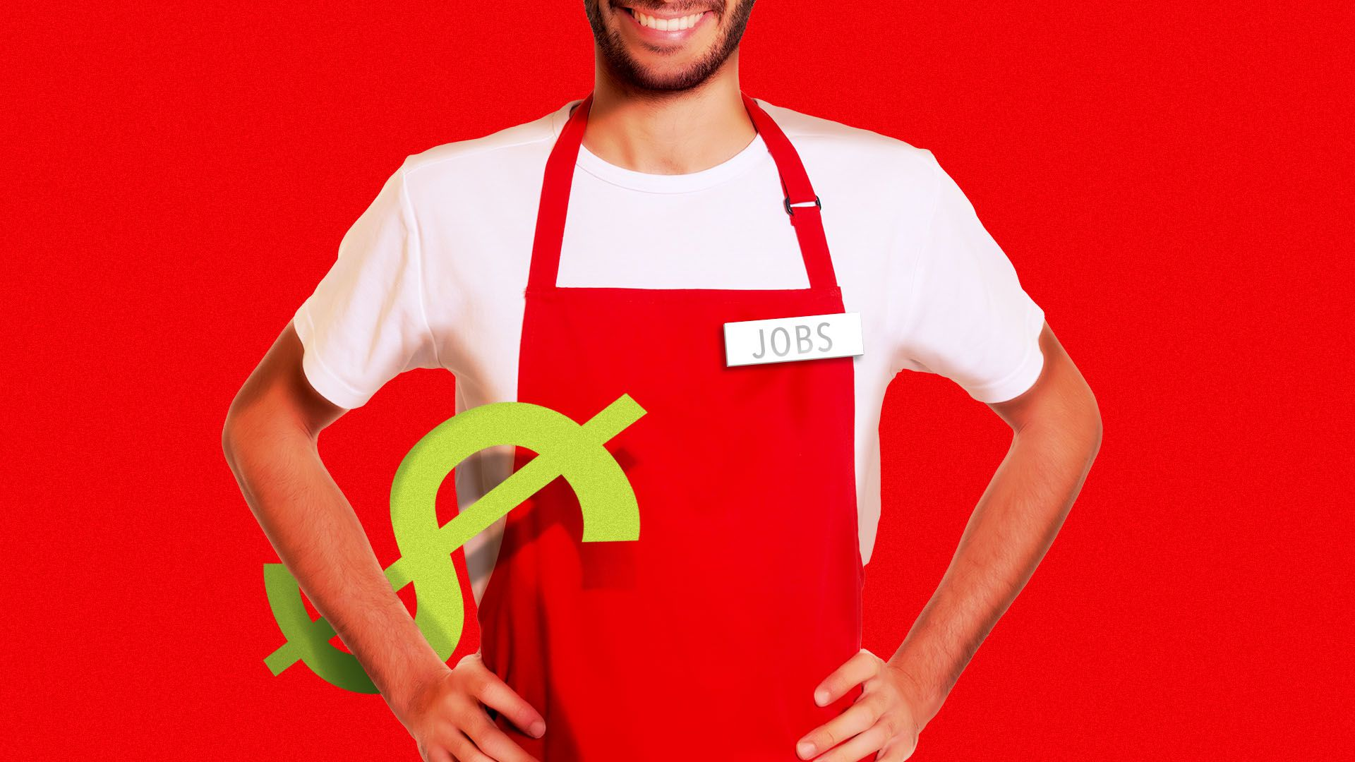 Illustration of a man wearing a red apron and a nametag, with a dollar sign under his arm