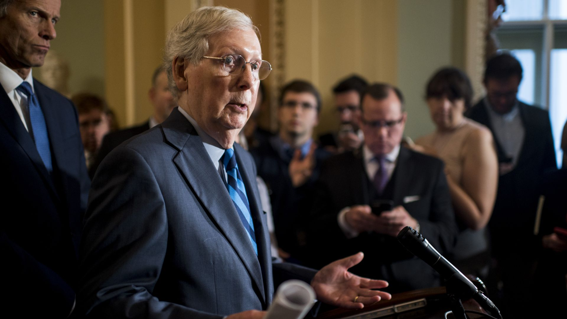Senate Majority Leader Mitch McConnell, R-Ky., speaks during the press conference on Wednesday, Oct. 16, 2019