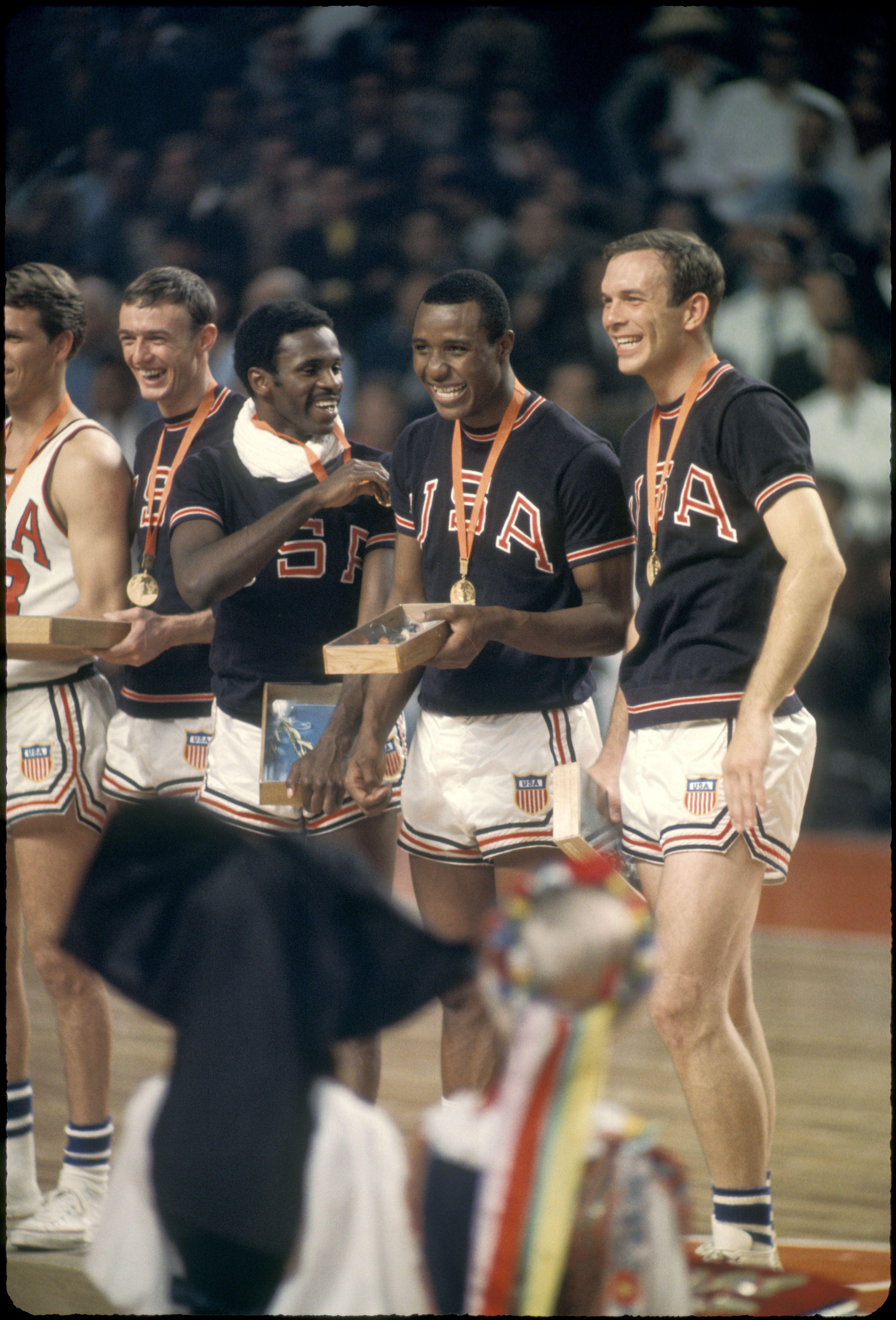 U.S. men's basketball team on the podium