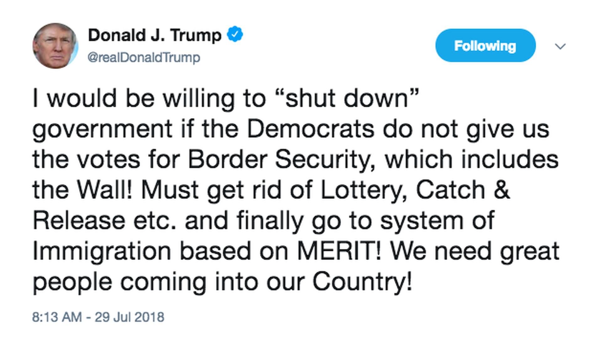 Trump Tweets Government Shutdown Threat Over His