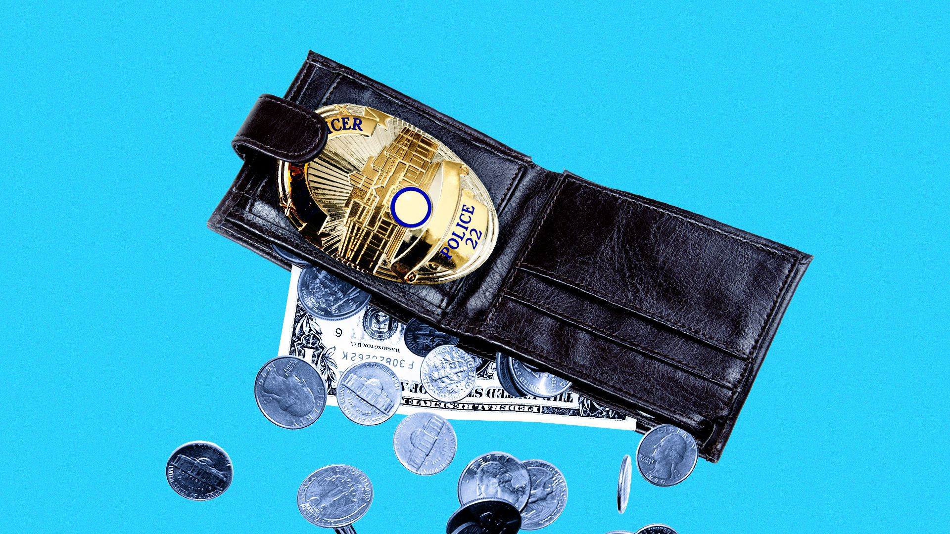 Illustration of money falling out of a wallet with a police badge