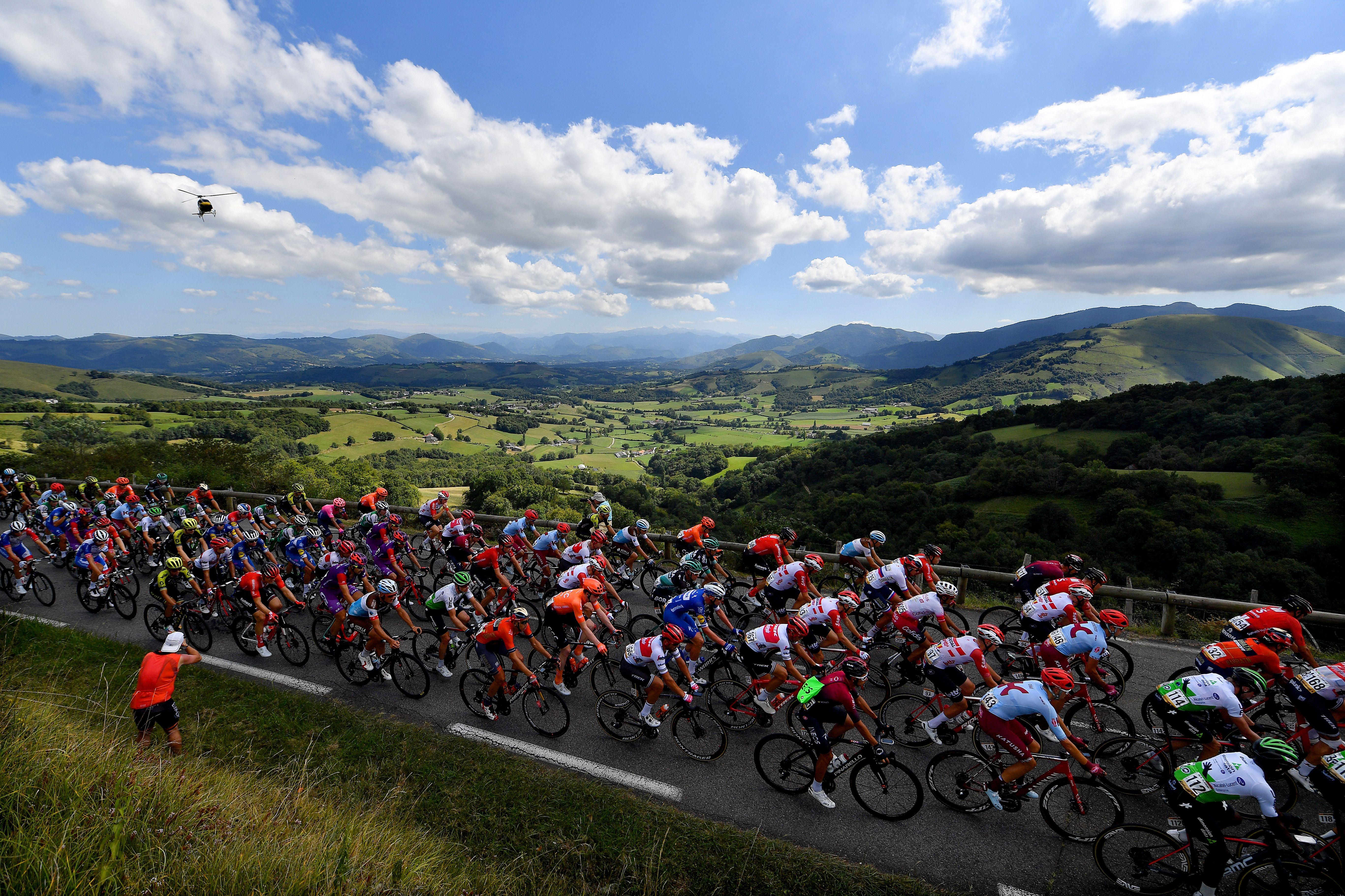Cyclists riding through Spain