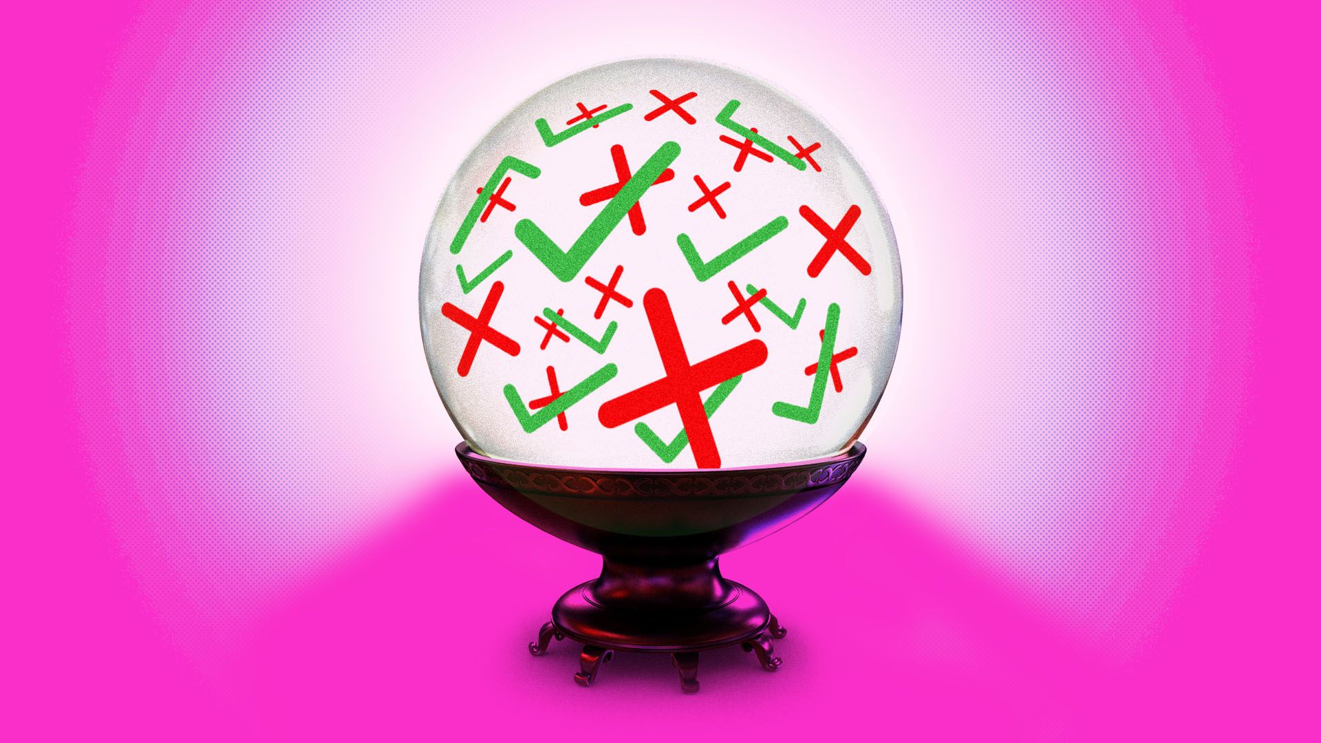 Illustration of a crystal ball with check marks and plus signs inside