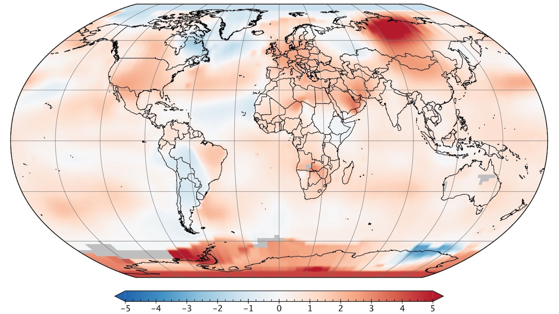 Image showing global temperature anomalies in June