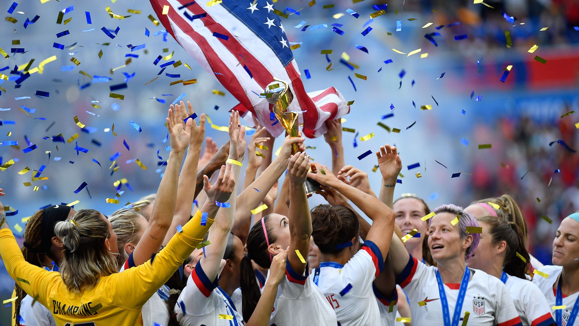 USA's players celebrate with the trophy after the France 2019 Womens World Cup football final match.
