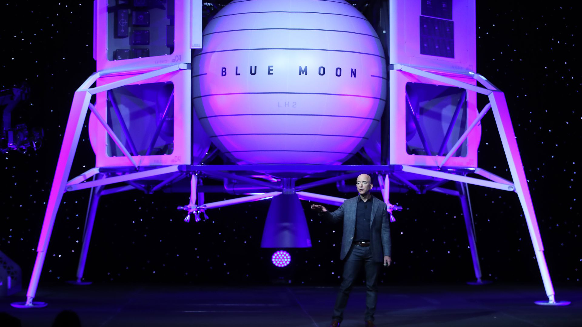 Jeff Bezos in front of Blue Origin's new lunar landing module Blue Moon