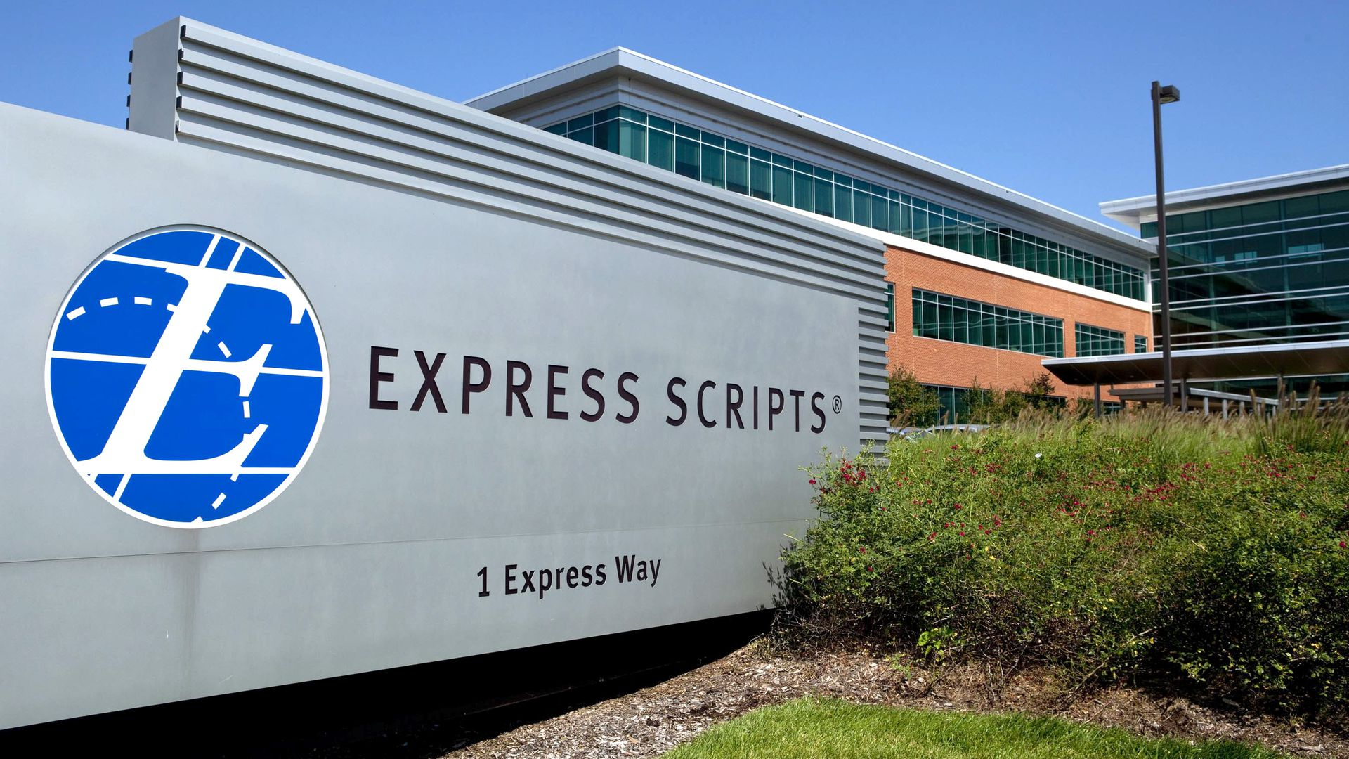 A sign at the headquarters of Express Scripts.