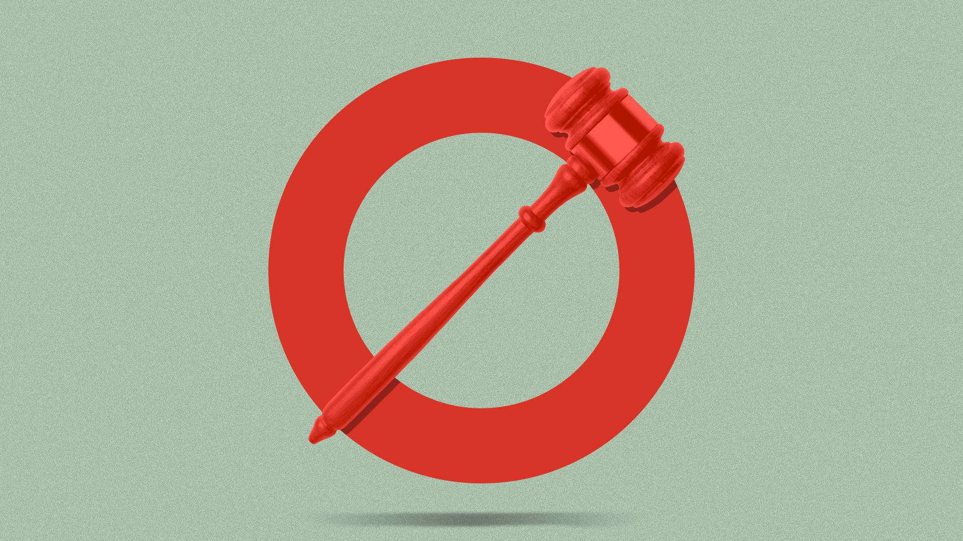 Illustration of a general prohibition symbol, with a gavel as a crossbar.