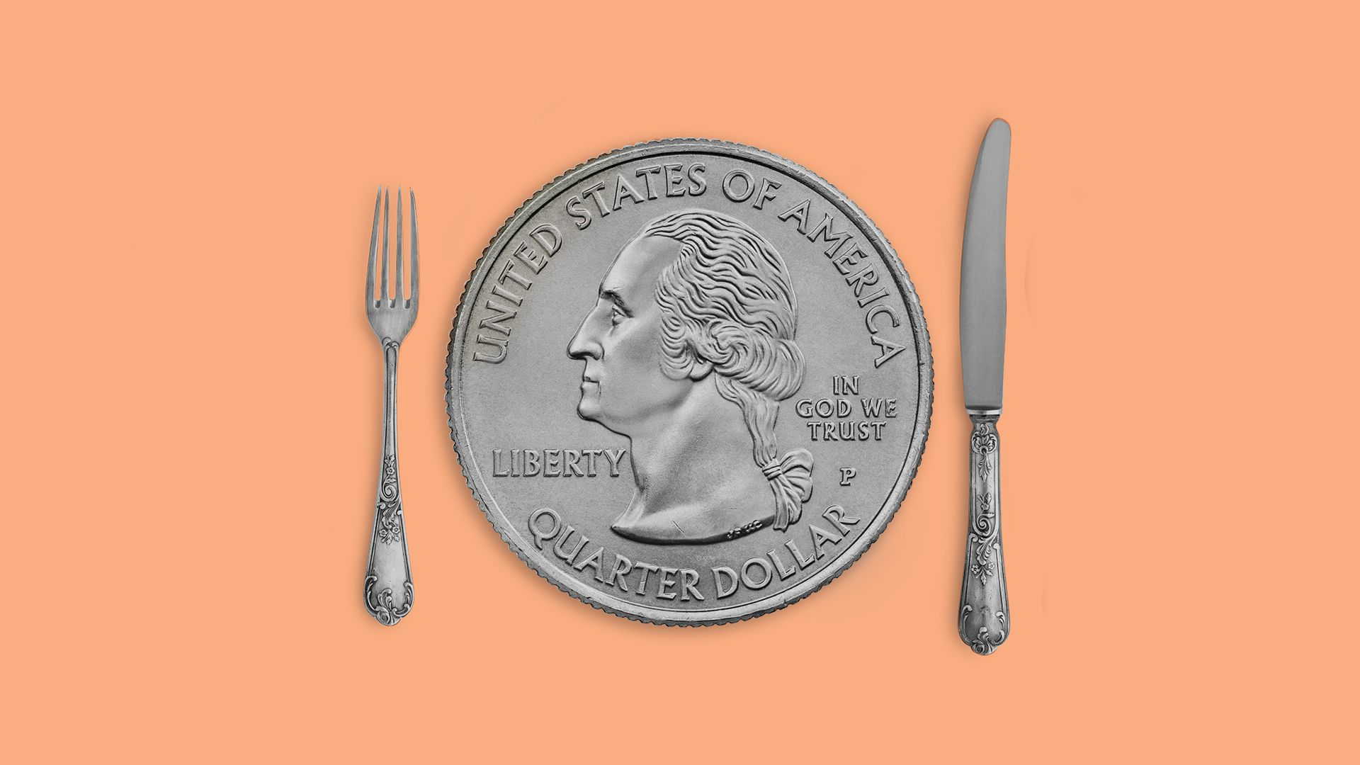 Illustration of a quarter as a plate with a fork and knife on either side.