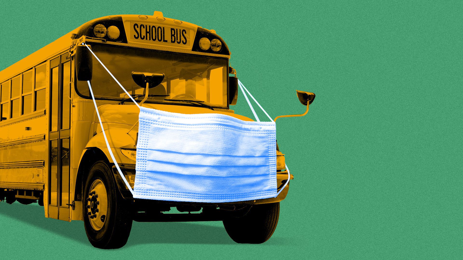 Illustration of a school bus wearing a mask.