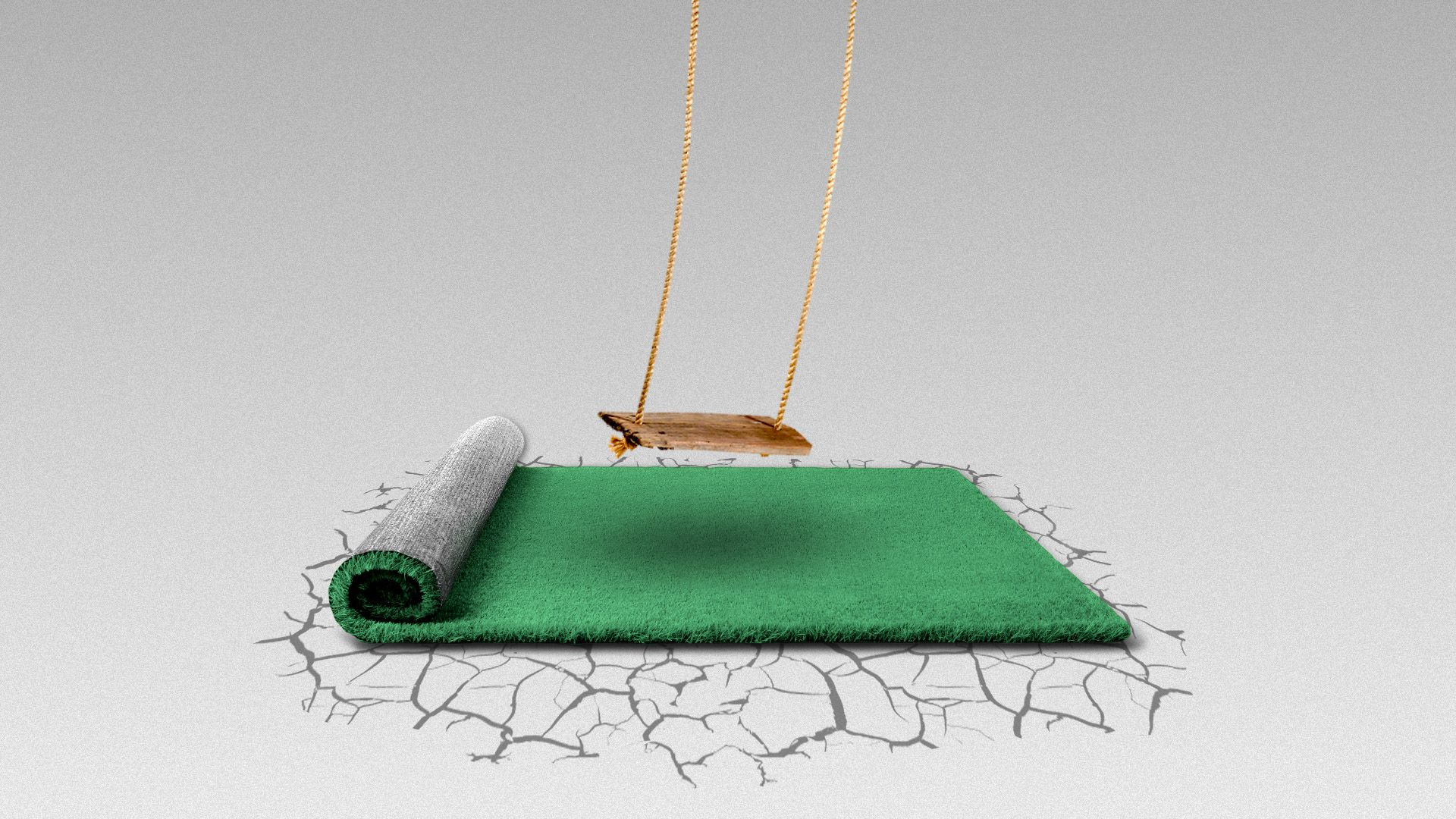 Illustration of a patch of grass on a parched piece of land with a swing above