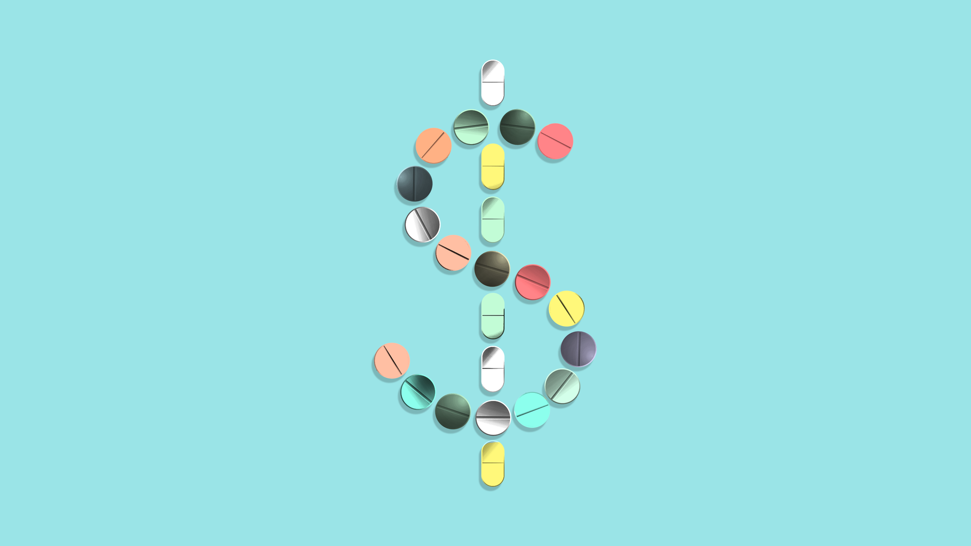 In this illustration, multi-colored pills make up a large dollar sign.