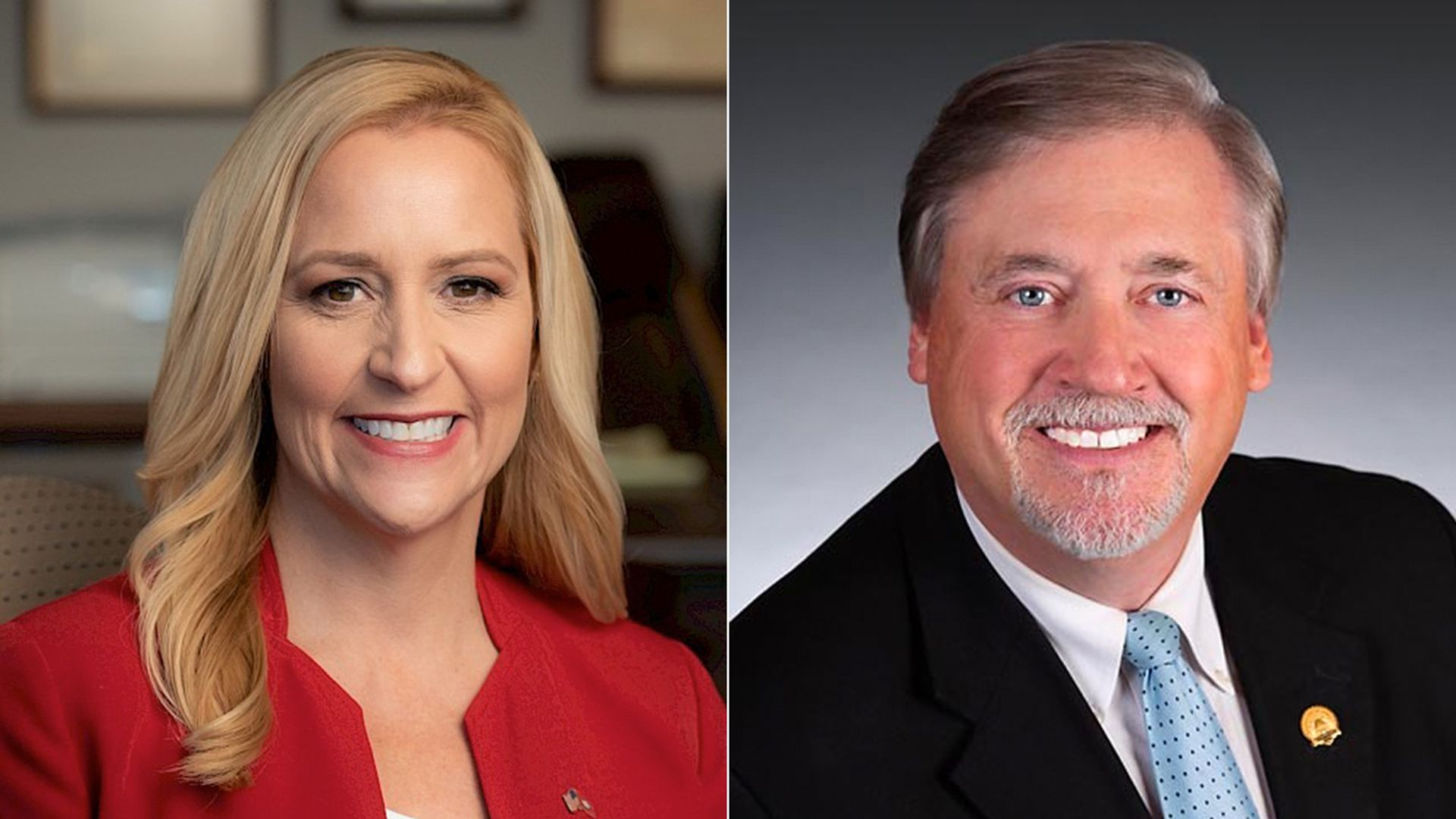 Headshots of Arkansas' Attorney General, Leslie Rutledge, and Rep. Mark Lowery. Photos: courtesy