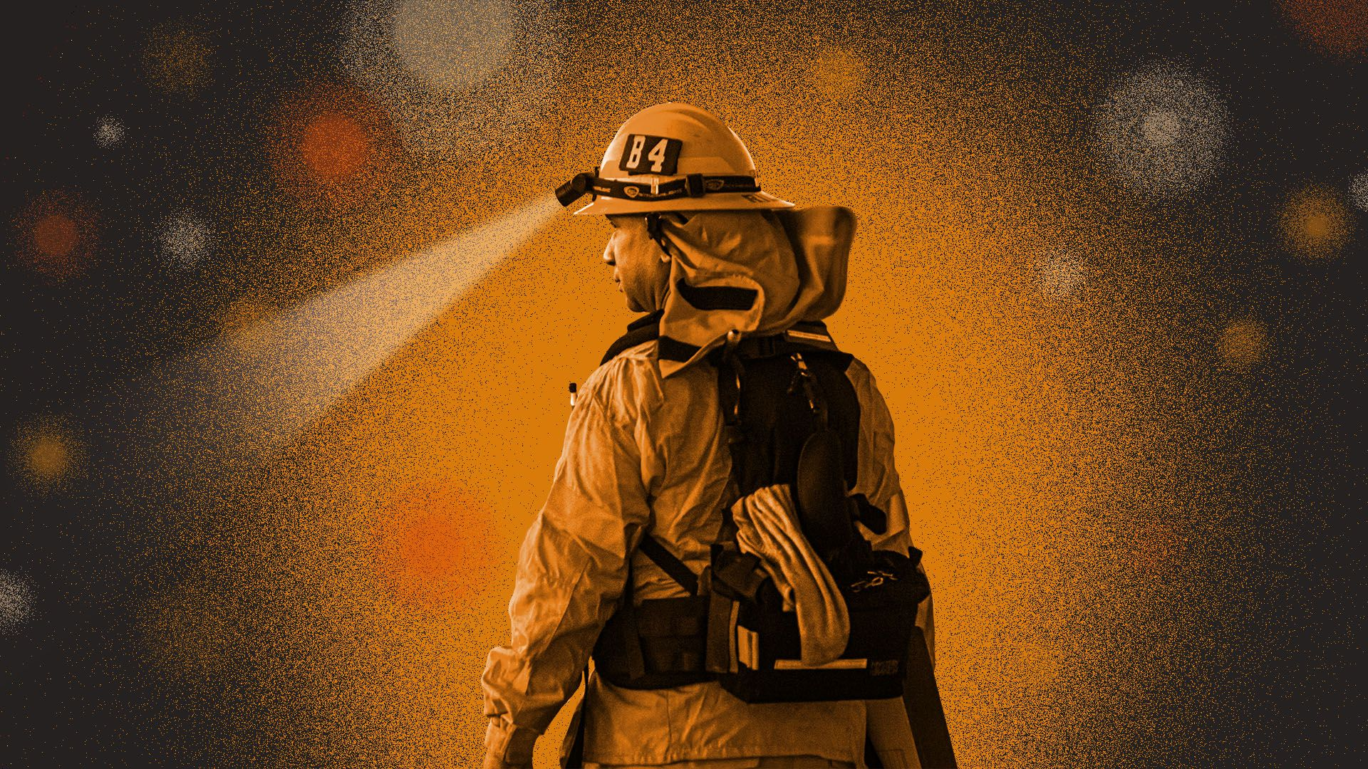 Illustration of a firefighter with his back to the viewer surrounded by lights and embers