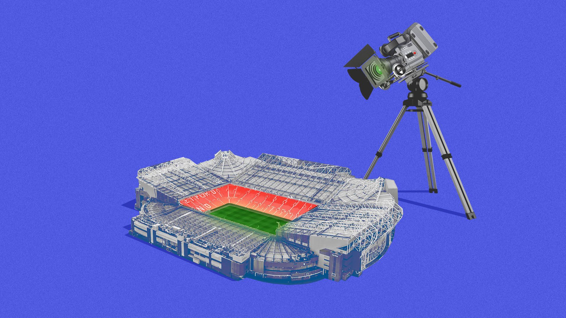 illustration of a sports stadium with a huge broadcast camera standing over it