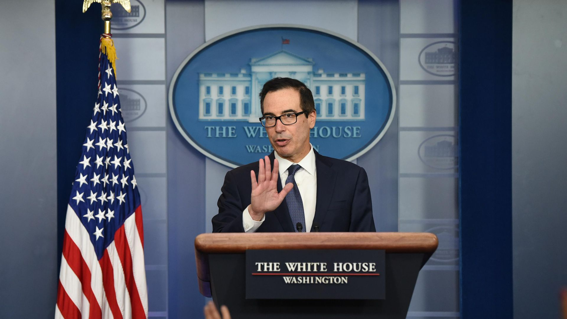 U.S. Treasury Secretary Steven Mnuchin Holds Press Briefing
