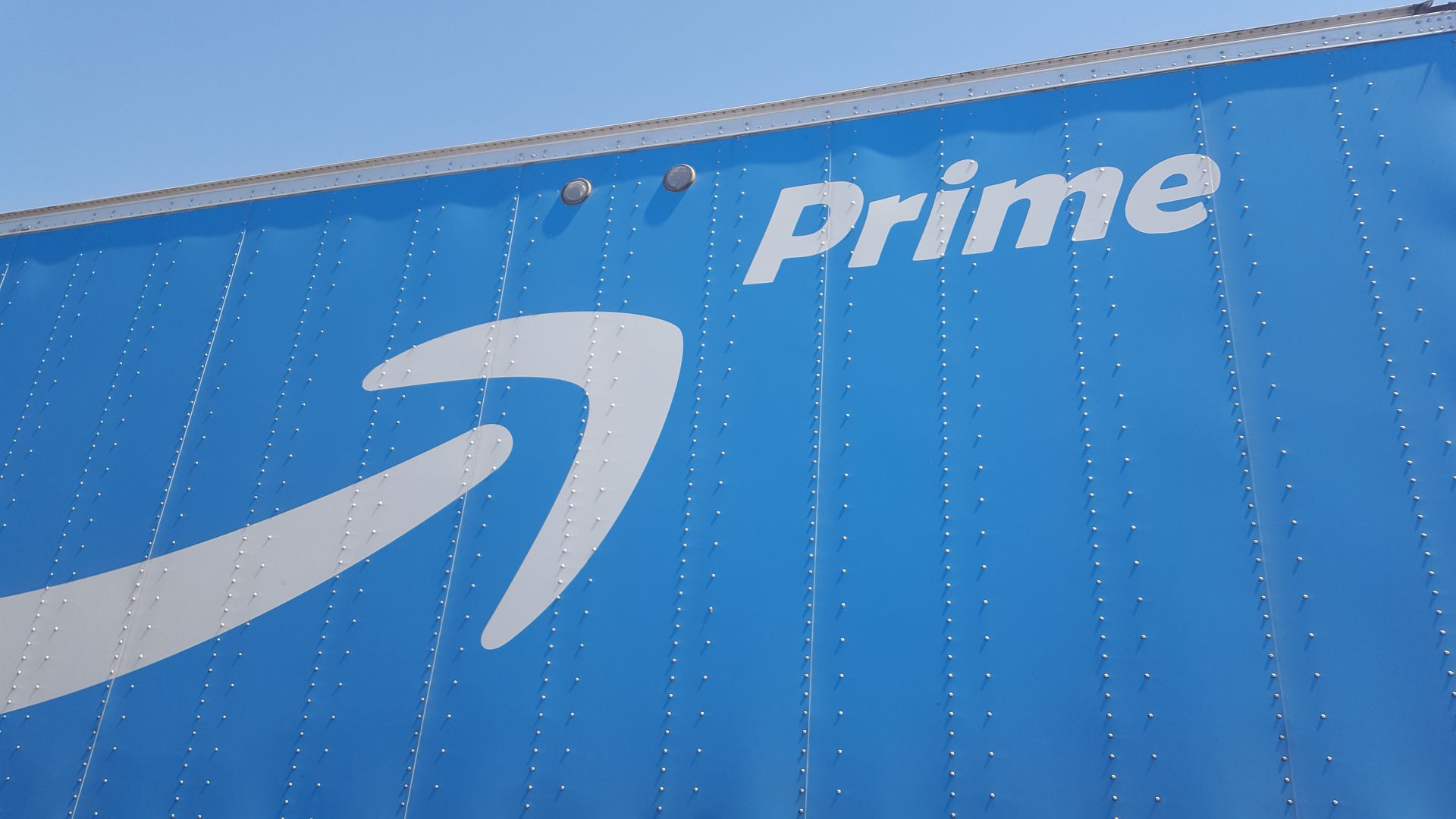 "The side of a semi truck that says ""prime"""