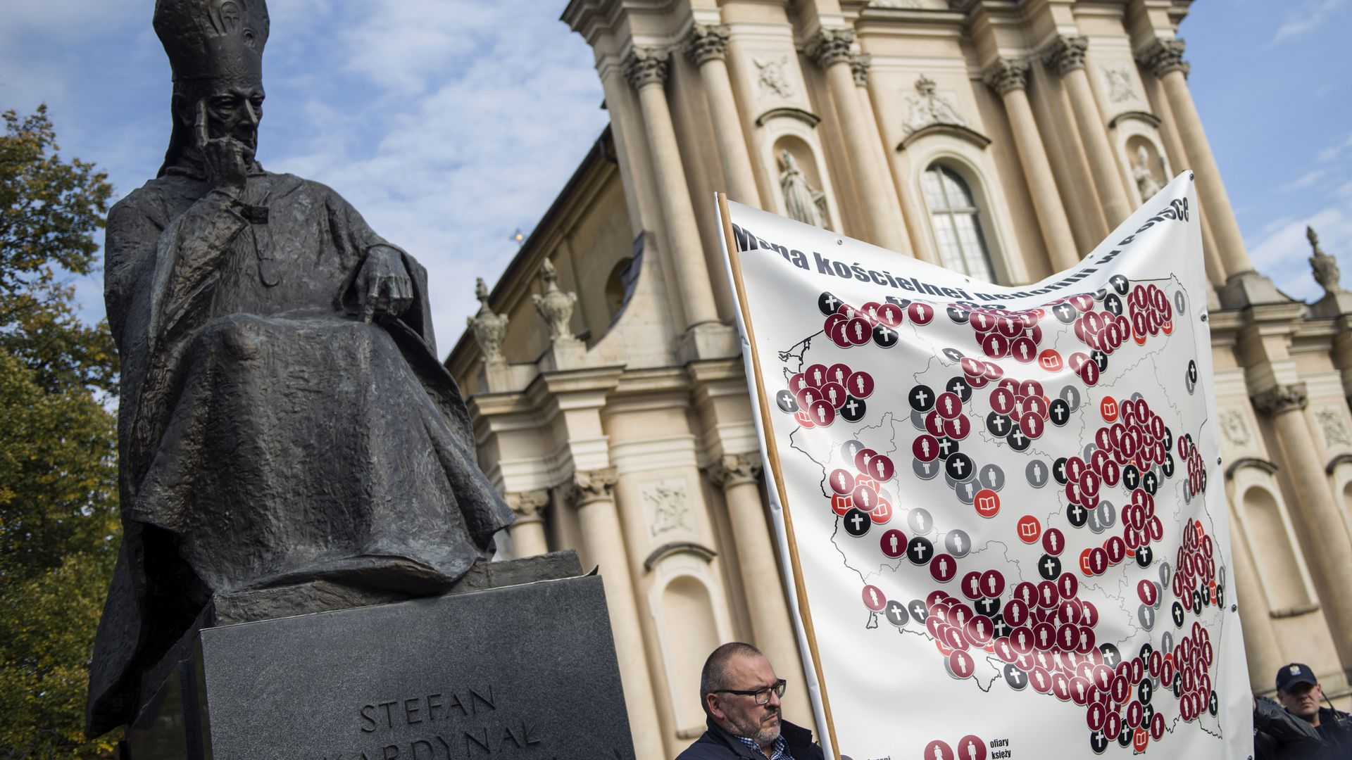 A demonstration outside a Catholic Church in Warsaw, Poland against catholic priests who committed pedophilia.